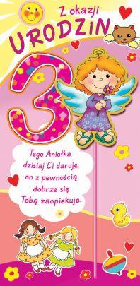 78041e24c2b026 Karnet na 3 Urodzinki dla Dziewczynki Artis Collage Janiołki