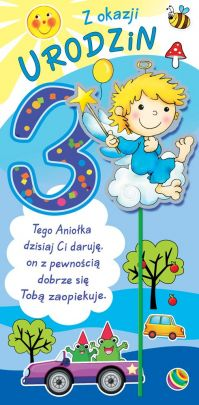 fb8328ce4a30ff Karnet na 3 Urodzinki dla Chłopca Artis Collage Janiołki